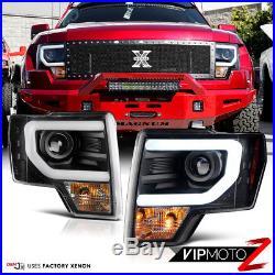 13-14 Ford F150 D3S HID Model Black LED Halo Light Bar DRL Projector Headlight