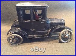 1920's BING Germany Tin Windup Ford Model T Sedan Toy Car Woman Driver Parts Car