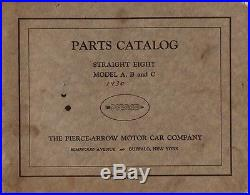1930 Pierce-Arrow Parts Catalog Straight Eight Model A, B and C