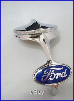 1932 Ford Radiator Grille Shell Chrome Ornament & Rad Cap + Blue Emblem Kit