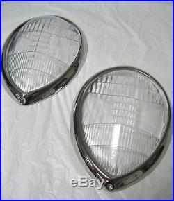 1937 1939 Ford Standard Fluted Headlight Lenses + Stainless Steel Ring Combo