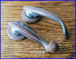 19391941 DeSoto WINDOW CRANK DOOR HANDLES withESCUTCHEONS vtg 1930s 1940s mopar