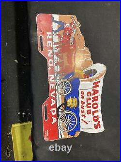 1940s 1950s Vintage Accessory HAROLDS CLUB LICENSE PLATE TOPPER BOMB LOWRIDER