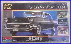 1957 Chevy Monogram SEALED 112 Scale MODEL KIT 3 n1 Blown Drag Stock Street