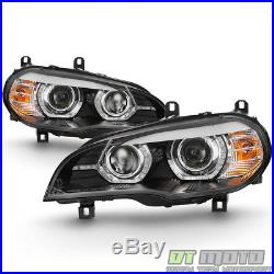 2007-2010 BMW E70 X5 HID withAFS Model 3D LED Halo DRL Dual Projector Headlights