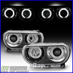 2008-2014 Dodge Challenger Halogen Model LED CCFL Halo Projector Headlights Pair