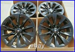 20 tesla model x SATIN SEMI black wheels rims original parts oem 4 stagared