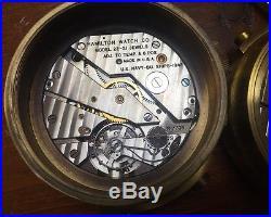 2 Hamilton Model 22 Chronograph Gimbeled Ships Clock For Parts