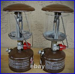 2 Vintage 80's brown Coleman Canada Peak 1 Model 222 Lanter Parts or Repair