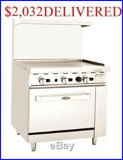 36 inch wide (3 foot) Commercial Gas Restaurant Griddle Grill Range Flat Top