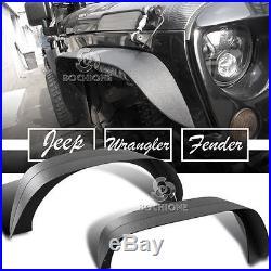 4PCS/Set Steel Flat Fender Flares Fit 2007-17 Jeep Wrangler JK & Unlimited Model