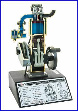 4 Stroke Gasoline Hand Crank Engine Model, Actuating Movable Parts, 13.75 Tall
