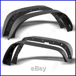 4x Black Flat Fender Flares for 07-16 Jeep Wrangler JK & Unlimited Models