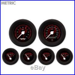 6 Gauge Set Speedo Tach Oil Temp Fuel Volt Ghost Flame Black Red White LED 043WC