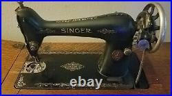 Antique Singer Sewing Machine Model 66 in Oak Cabinet, Extra Parts, Key & Manual