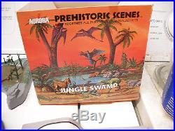 Aurora model Prehistoric Scenes Jungle Swamp HUGE LOT 3 bases lots of parts