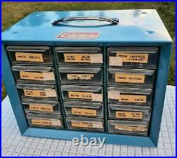 Coleman Parts Cabinet Vintage 1970's 200A, 220 model lanterns + 6 parts