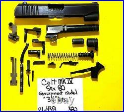 Colt 380 Government Model Blued Slide, Barrel, Trigger, Parts Lot 21-438