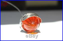 Custom Chrome Mini Amber Lens Bullet Marker Accent Light w Visor Hot Rat Rod New