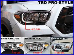 DEPO TRD Black Style LED DRL Plug & Play Headlight For 16-19 Tacoma Model WithLED