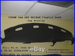 Dodge Ram Plastic Dash Cap Hard Cover 98-01 Sport & SLT Model P/U Color BLACK