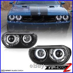 FOR HALOGEN MODEL 2008-2014 Dodge Challenger CCFL ANGEL EYE Black Headlights