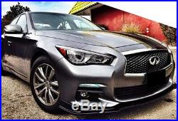 Fit 14-17 Infiniti Q50 Base Premium Glossy Blk Front Bumper Lip Spoiler Splitter