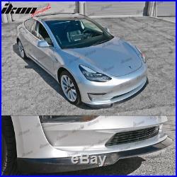 Fits 17-19 Tesla Model 3 IKON Style Front Lip Splitter Carbon Fiber