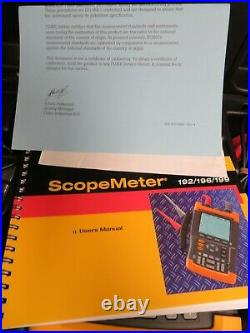 Fluke Scopemeter model 192 PARTS/NOT WORKING with case & accessories OA39