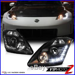 For 06-09 Nissan 350Z FACTORY HID MODEL LED DRL Projector Headlight Lamp Black