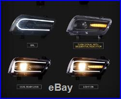 For Dodge Charger LED DRL Headlight Dual Beam Projectors Halogen Model 2011-2014