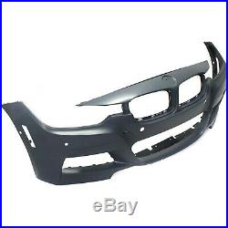 Front Bumper Cover For 2013-2016 BMW 328i withM Sport/PDC Sensor Holes/IPAS Primed