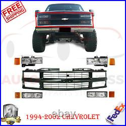 Front Grille Black + Headlights & Side Markers For 1994-2000 Chevy C/K Pickup