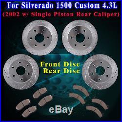 Front & Rear Brake Rotors and Ceramic Pads 2002 Chevy Silverado 1500 Custom 4.3L