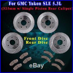 Front Rear Drill Slot Brake Rotors and Ceramic Pads fit 2001 GMC Yukon SLE 5.3L