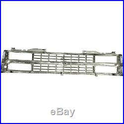 Grille For 1988-93 Chevy C K 1500 Chrome Shell With Black Insert Dual Headlight