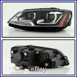Halogen Model 2011-2018 VW Jetta Sedan LED U-Shape DRL Projector Blk Headlights