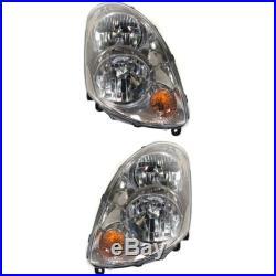 Headlight Set For 2003-2004 Infiniti G35 Sedan Left and Right With Bulb 2Pc
