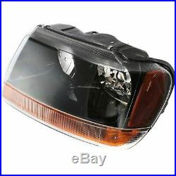 Headlight Set For 99-2004 Jeep Grand Cherokee Left and Right Black Housing 2Pc