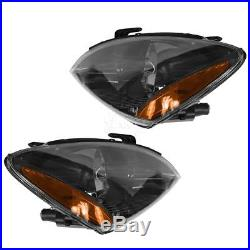 Headlights Headlamps with Smoked Background Left & Right Pair Set for 04-07 Lancer