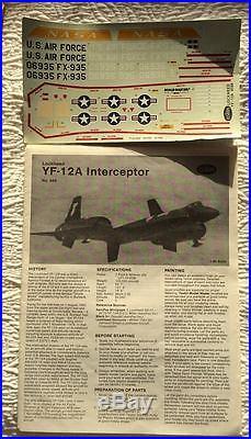 Lockheed YF-12A INTERCEPTOR Vintage Model Kit 1/48 Testors Sealed Parts