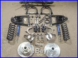 Mustang 2 Front End Suspension Kit Power Drop Spindles Chevy Rotors 5/8 Narrow