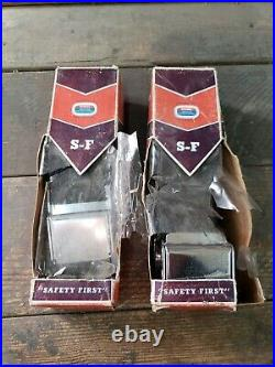NOS Pair 60s vintage Superior Lap seat belts black chrome hot rod custom rare