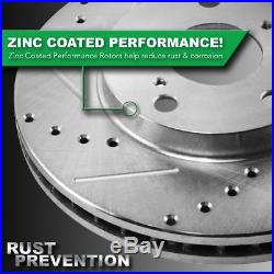 Nakamoto Performance Brake Rotor Drilled Slotted Zinc Coated Front /& Rear Kit