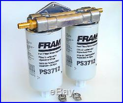 New Model RAM FORD Diesel Remote 1 Micron Fuel Dual Filter Mount NO CAT 1R-0749