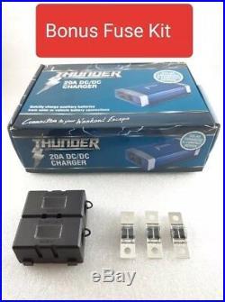 New Model Thunder 12 Volt DC To DC 20a Charger Solar Agm Bonus 30 Amp Fuse Kit
