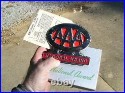 Original 1950s AAA auto vintage scta GM Ford Chevy license plate topper nos gmc
