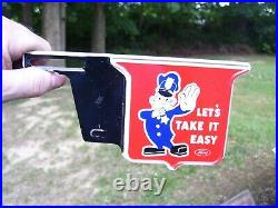 Original 1950s TAKE EASY vintage scta GM Ford Chevy license plate topper COP old