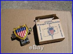 Original 1950s nos flag holder license plate topper vintage scta GM Ford Chevy