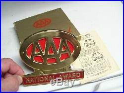 Original nos 1950s AAA auto club emblem badge Gold vintage scta GM Ford Chevy